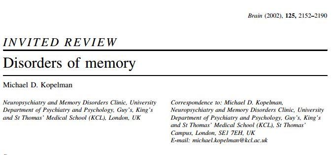 اختلال های حافظه