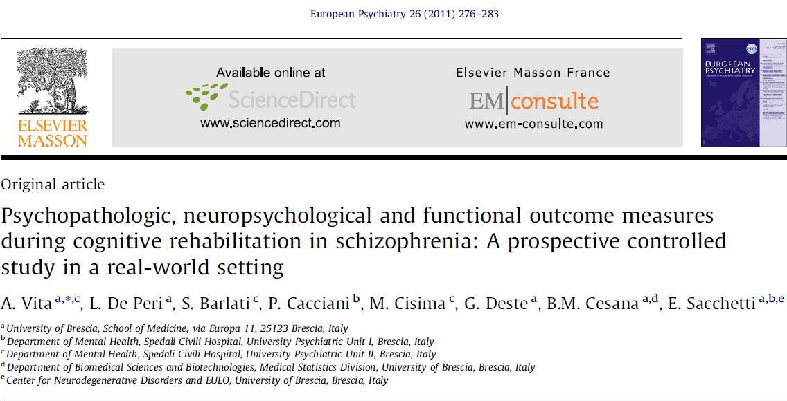 پیامدهای آسیب شناسی روانی ، عصبروانشناختی و عملکردی در طول توانبخشی شناختی در اسکیزوفرنی