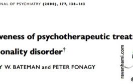 اثربخشی مداخلات روانشناختی برای اختلالات شخصیت