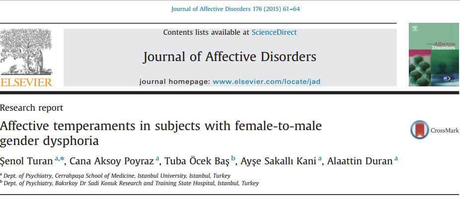 خلق و خوی عاطفی در افراد مبتلا به ملال جنسیتی زن به مرد