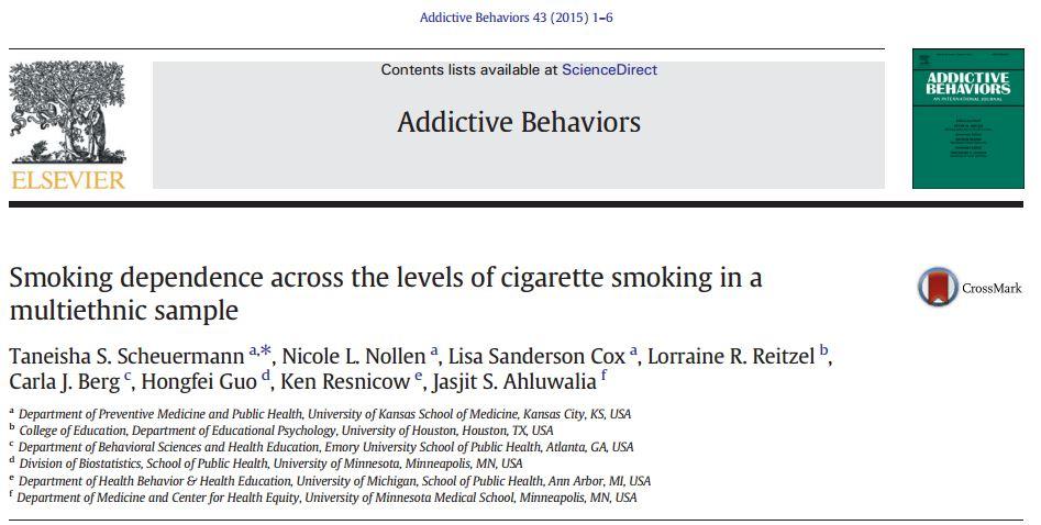 وابستگی به سیگار در سطوح مختلف مصرف کنندگان سیگار
