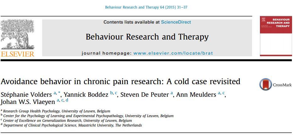رفتار اجتنابی در پژوهشهای درد مزمن