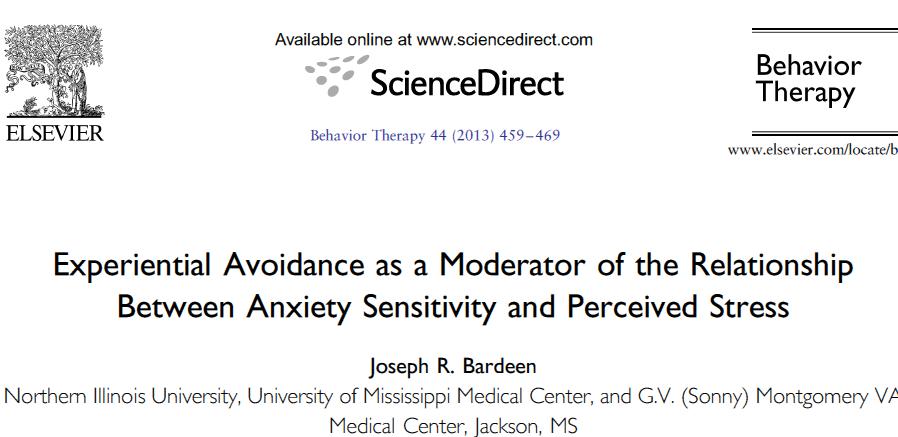 نقش تعدیل کننده اجتناب تجربه ای در رابطه حساسیت اضطرابی و استرس ادارک شده
