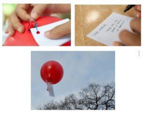 نقاشی یا یادداشتی را به یک بادکنک ببندید.